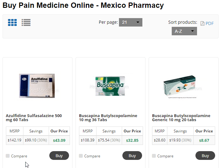 Mexican Pain Medications Price