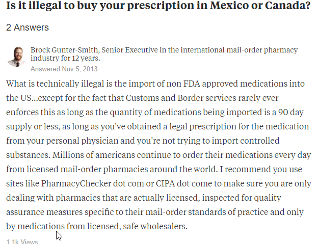 Buying Meds from Canada