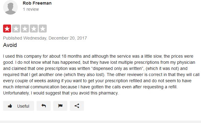 Another problem that he has encountered when dealing with the pharmacy is the constant call from the pharmacy staff asking him to place his refill order