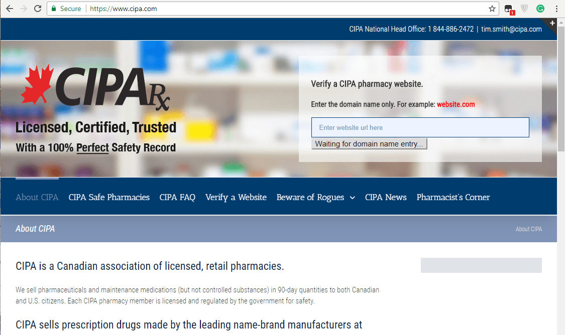 CIPA Canada: Get Your Meds from a Genuine Canadian Web Drugstore