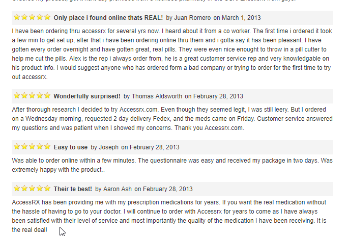 AccessRx User Testimonials (source: http://www